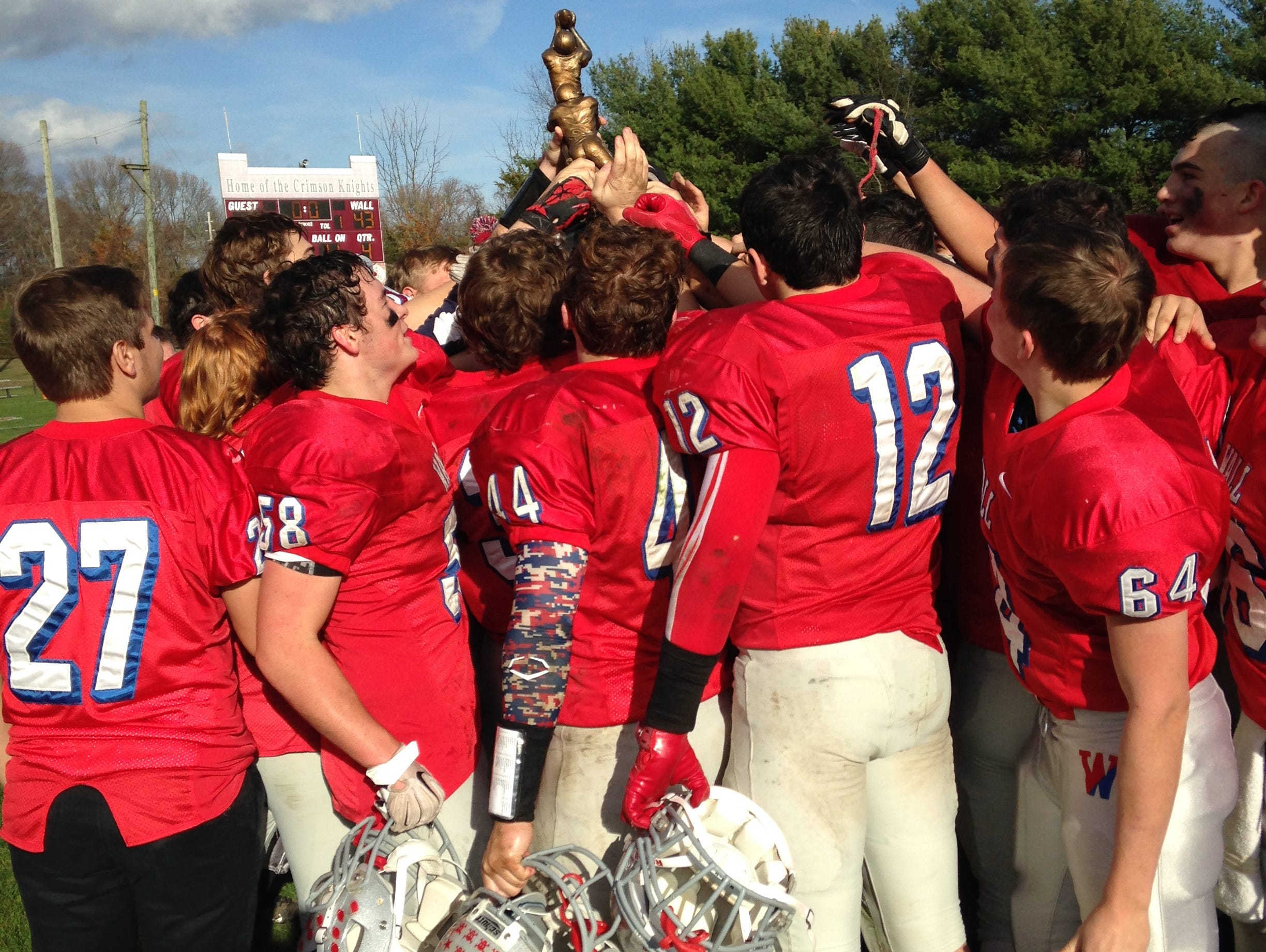 Wall celebrates the victory over Manasquan