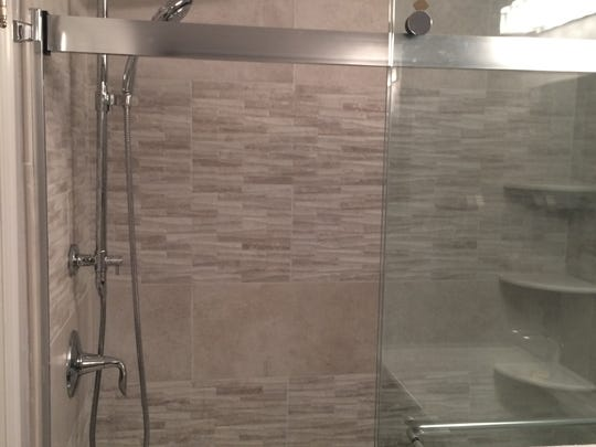 A view of the shower after renovations in Marla Cimini's home.