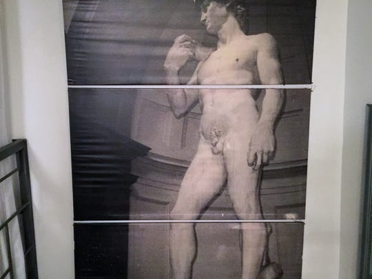 This 9-foot, three panel painting of David could be yours.