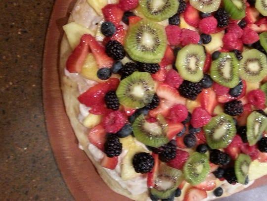 A fruit pizza from the Marzano Pizza Company.