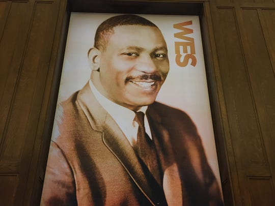 Wes Montgomery on a poster in the new Center for Black Literature and Culture in Central Library on Oct. 21, 2017