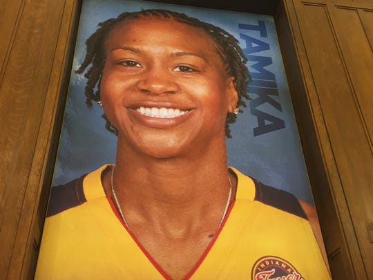 Tamika Catchings on a poster in the new Center for Black Literature and Culture in Central Library on Oct. 21, 2017