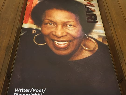 Mari Evans on a poster in the new Center for Black Literature and Culture in Central Library on Oct. 21, 2017