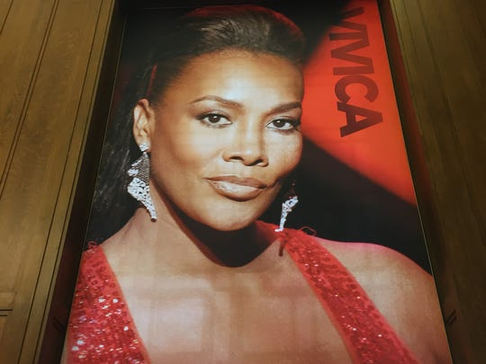 Vivica A. Fox on a poster in the new Center for Black Literature and Culture in Central Library on Oct. 21, 2017