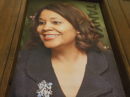 Tanya Walton Pratt on a poster in the new Center for