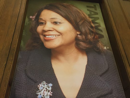Tanya Walton Pratt on a poster in the new Center for Black Literature and Culture in Central Library on Oct. 21, 2017