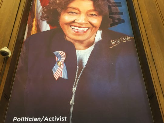 Julia Carson on a poster in the new Center for Black Literature and Culture in Central Library on Oct. 21, 2017