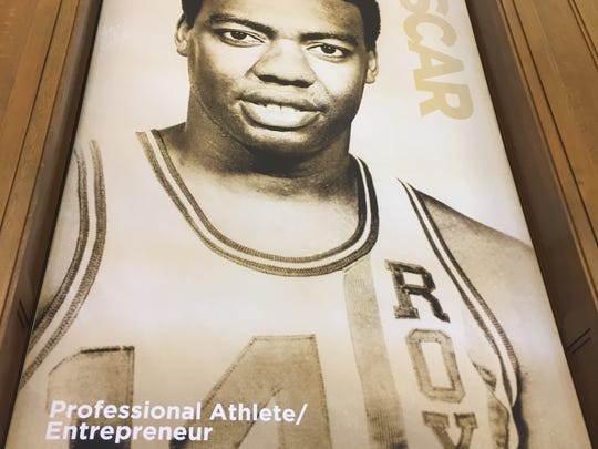 Oscar Robertson on a poster in the new Center for Black Literature and Culture in Central Library on Oct. 21, 2017