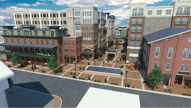 The revised plan for the redevrelopment of downtown Flemington retains the facade of the Union Hotel.