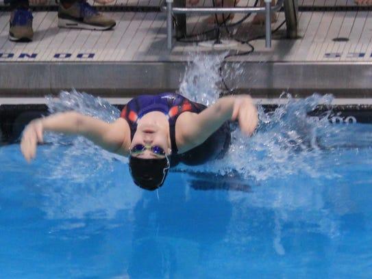 Millburn's Livia Maguire starts off the 200m Medley