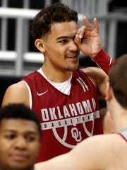 Oklahoma's Trae Young takes part in a practice for an NCAA men's college basketball tournament first-round game, in Pittsburgh pm Wednesday, March 14, 2018. Oklahoma plays Rhode Island on Thursday. (AP Photo/Gene J. Puskar)
