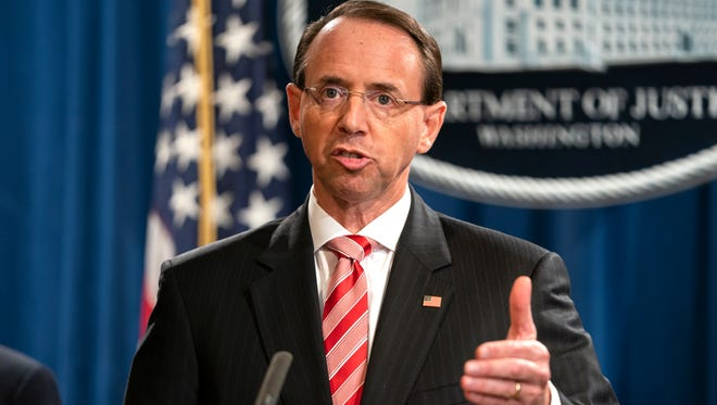 Deputy Attorney General Rod Rosenstein announces that the Justice Department is indicting 12 Russian military officers for hacking Democratic emails during the 2016 presidential election.