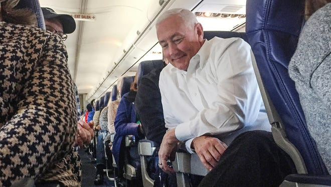 Greg Pence, a brother of Vice President Mike Pence, sits on a flight from Indianapolis to Washington, D.C., Jan. 18, 2017.