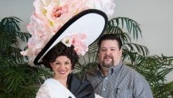 """Designer Chris March (right), with costume he designed for Skylight Music Theatre's """"My Fair Lady"""" in 2015."""