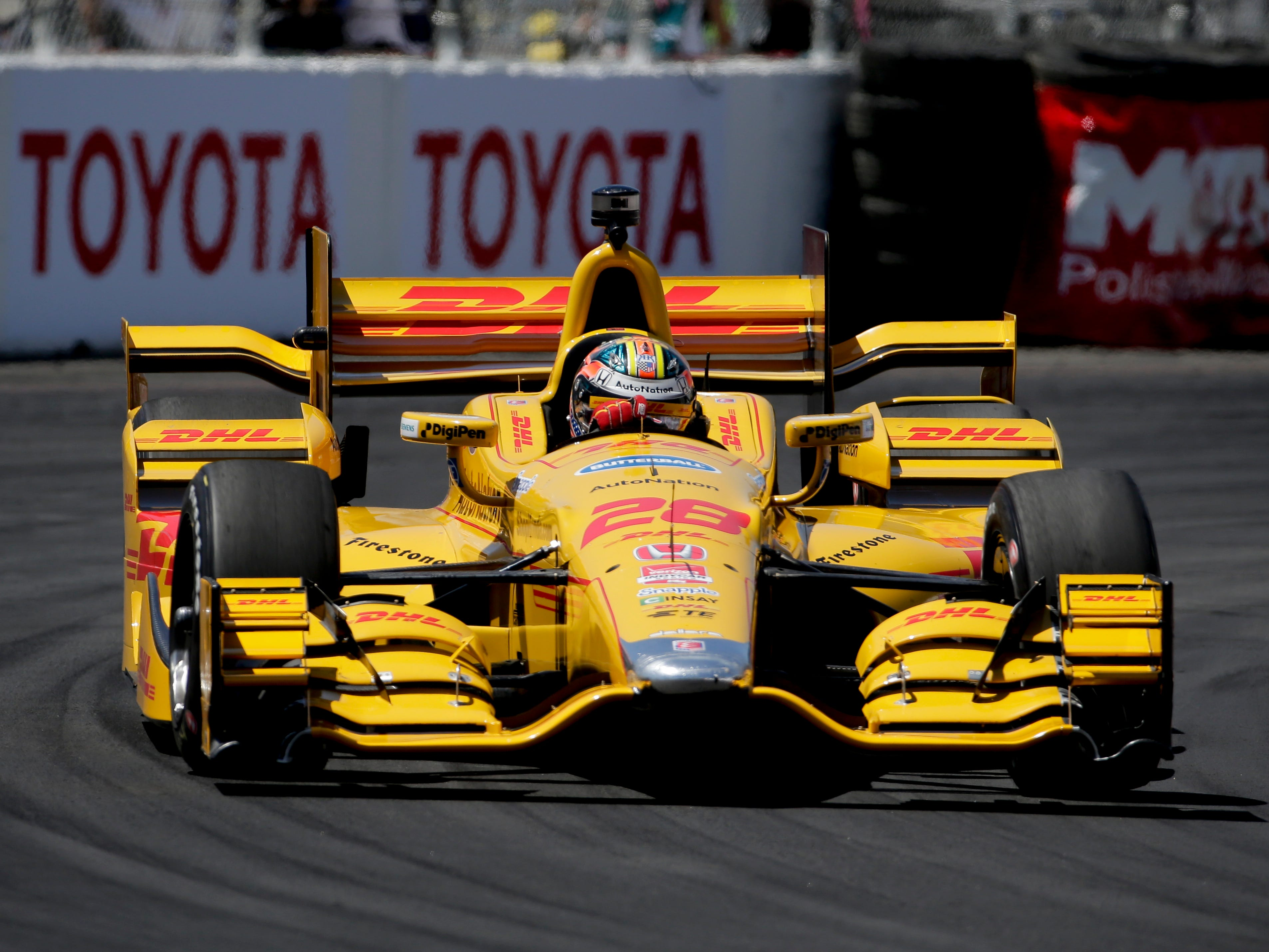 Ryan Hunter-Reay drives during a practice run for the IndyCar race at the Toyota Grand Prix of Long Beach on Friday, April 17, 2015 in Long Beach, Calif. (AP Photo/Chris Carlson)