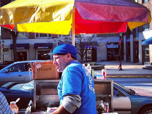 Darren Borodin sells hot dogs at his downtown stand in York on Friday, in this photo taken with Instagram. Borodin is waiting for a lottery to determine if he can keep his spot for another year.