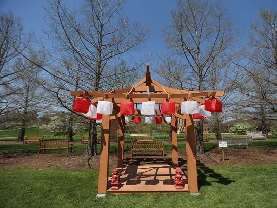 The Obon To tree house by Denny Salisbury and Carroll Marty at Reiman Gardens in Ames on Tuesday, May 5, 2015. The house is inspired by the Japanese festival Obon.