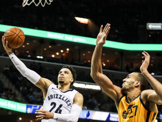 March 09, 2018 - Dillon Brooks goes up for a shot during Friday night's game at the FedExForum versus the Utah Jazz.