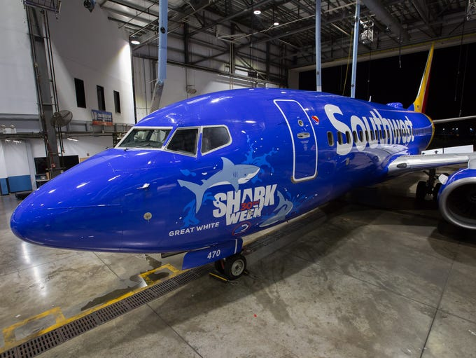 Southwest Airlines unveils special shark designs on
