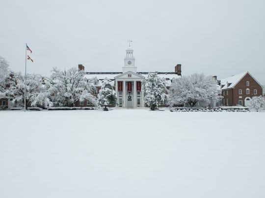 A view of Holloway Hall at Salisbury University on Saturday, Dec. 9, 2017.