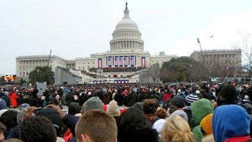 The view a group of Drake University students had at the 2013 inauguration in Washington, D.C.