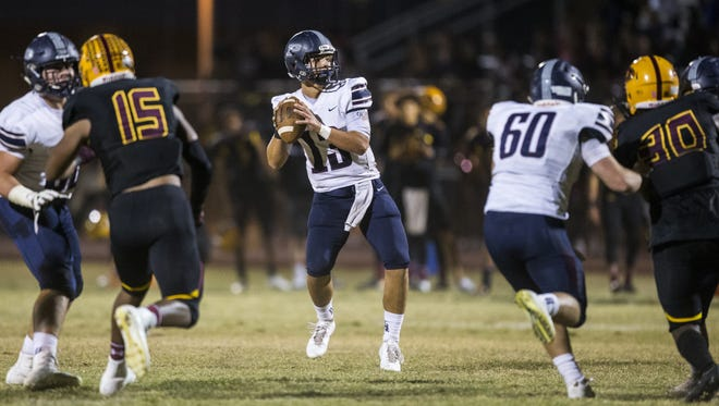 Perry's Brock Purdy looks to pass against Mountain Pointe during the 2nd quarter at McClintock High School on Friday, Nov. 17, 2017 in Tempe, Ariz.