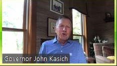 "Former Ohio Gov. John Kasich speaks via Zoom to ""43 Alumni for Biden,"" a group of former staffers of President George W. Bush who are backing Democrat Joe Biden this year."