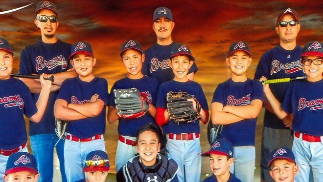 The Leanos Humble Farms Braves were crowned champions of the Minor Division (ages 9-10) of Deming Little League Baseball. The Braves compiled a 10-2 record en route to the league title. Standing in back, from left, are coaches Nick Mesa, Head Coach Alex Leanos and Gabriel Brinneman. The players are, in middle row, from left, Aiden Dominguez, Ryan Mejia, Diego Baca, Luis Leanos, Sebastian Acuna and Elijah Brinneman. In front, from left, are: J.J. Mesa, Alex Chacon, Uziel Barrera, Erik Bencomo and Miguel Garcia.