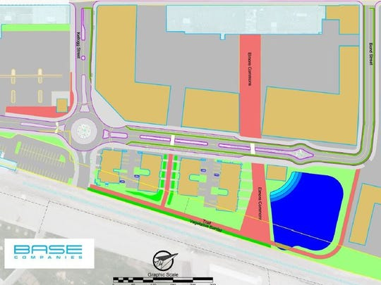 The plan for developing the Rail Yard district calls for the extension of Kellogg Street, construction of a roundabout and extension of Donald Driver Way to open up areas of the site for commercial and residential development.