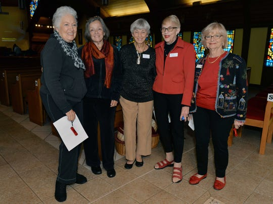 Stuart Friends of the ACO Betty Kopf, left, Barbara Seaton, Pat Pendergast, organization President Faith Paul are joined by volunteer Bobbi Demers as they prepare to welcome guests to the Stuart performance of the Atlantic Classical Orchestra.