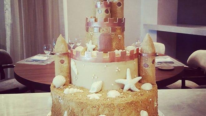 A custom sandcastle cake