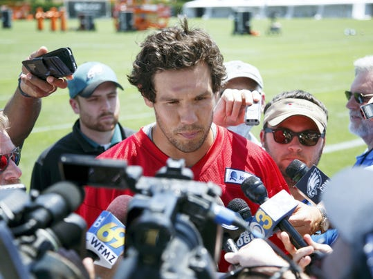 Philadelphia Eagles quarterback Sam Bradford (7) takes questions from the media during practice at training camp on Sunday in Philadelphia.