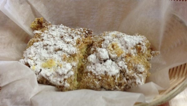Crumb cake is easy to make.