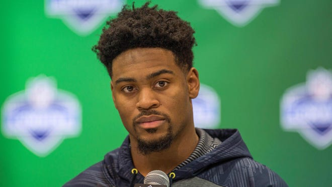 Ohio State Buckeyes defensive back Gareon Conley speaks to the media during the 2017 combine at Indiana Convention Center.