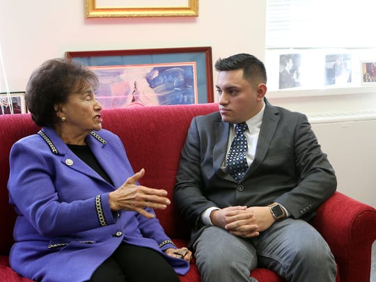 U.S. Rep. Nita Lowey meets with Dreamer Hugo Alexander Acosta Mazariego, 28, of Pearl River at her office in White Plains Jan. 25, 2018. Acosta Mazariego's family cameÊto the United States from El Salvador in 2005, fleeing economic instability and the gang violence that came with it. Congressman Lowey invited Acosta Mazariego to the Capitol for the State of the Union address after being moved by a letter he wrote her.