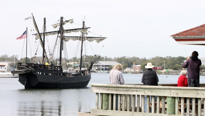 In this February 2013 file photo, the Columbus Foundation's two Columbus replica ships the Nina, and the most historically accurate replica of a Columbus Ship ever built, the Pinta motored into port in Carrabelle