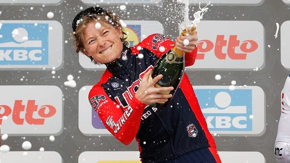 Lauren Hall celebrates after a victory at the Ladies Gent-Wevelgem Cycle Race earlier this year.