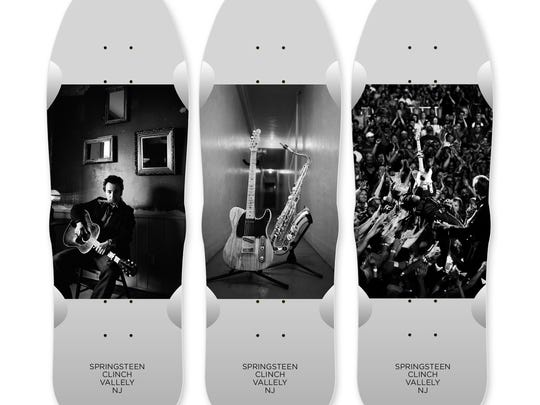 The limited edition Springsteen X Clinch X Vallely skateboards.