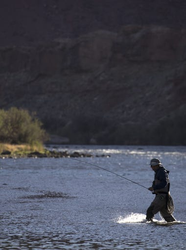 A fly fisherman at Lees Ferry, April 13, 2018, Glen Canyon National Recreation Area.