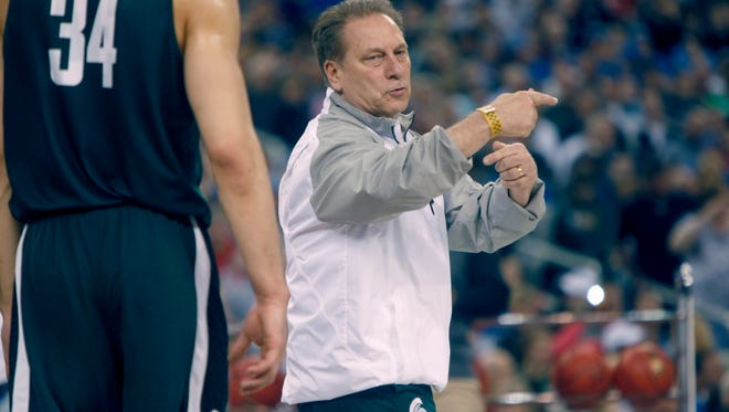 Michigan State's head coach Tom Izzo directs his team during the open practice in April.