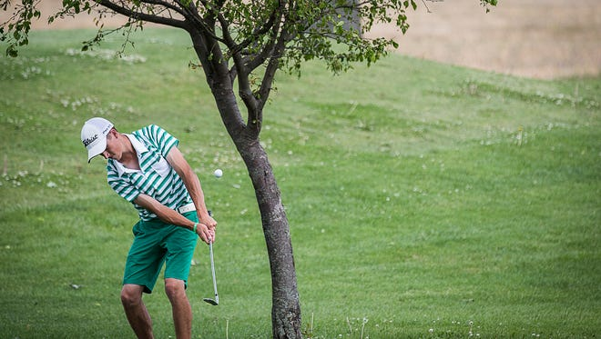 Yorktown's Blake Vise competes against Central's Keenan Bronnenberg in a tie breaker game at the Hickory Hills Golf Course Monday, June 6, 2016.