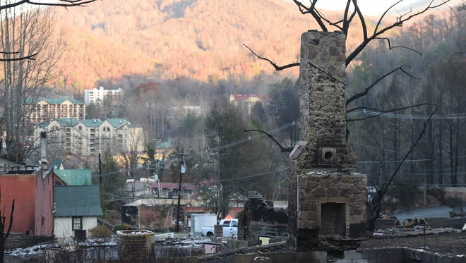 Destruction is seen on Dec. 2, 2016, at the bottom of Ski Mountain after the November wildfires in Pigeon Forge and Gatlinburg.