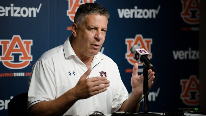 Auburn head coach Bruce Pearl speaks during a press conference on Friday, Sept. 29, 2017, in Auburn, Ala. The conference was Bruce Pearl's first press conference since Auburn assistant coach Chuck Person was charged with 6 felony offenses.