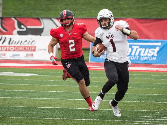 Zack Ryan, seen here chasing down NIU's Anthony Maddie, leads Ball State in tackles this season.