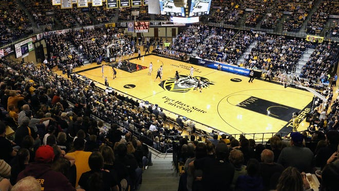 A large crowd fills Gross Memorial Coliseum during a game in 2019.