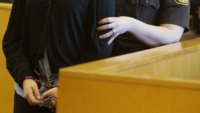 One of two Waukesha girls accused of stabbing their classmate to please horror character Slender Man appears in court during the second day of a preliminary hearing last month.