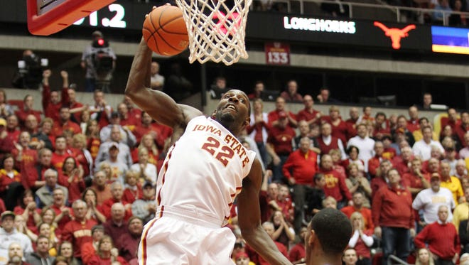 Iowa State Cyclones forward Dustin Hogue rebounds against the Texas Longhorns at James H. Hilton Coliseum.