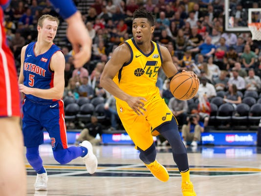 Donovan Mitchell, Luke Kennard, Detroit Pistons at Utah Jazz