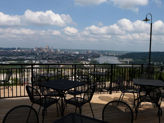 The patio/deck view at Incline Public House in East Price Hill.
