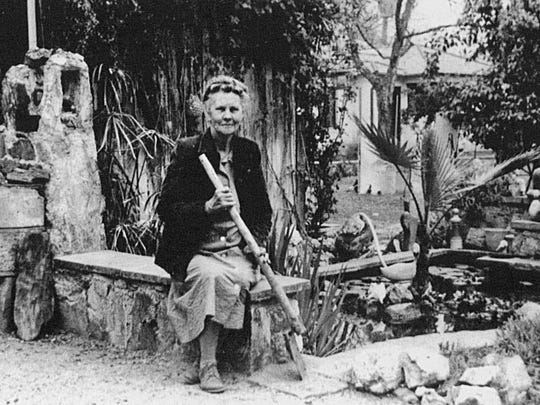 Beginning in 1940, self-trained ornithologist Guess Burchett, seen in her backyard, transformed her home into a federally recognized bird sanctuary. A longtime community contributor, Birchett was named Centennial Queen for Tempe's 100th birthday in 1971.